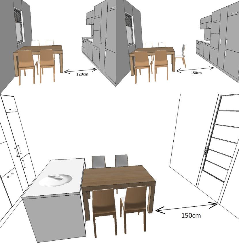 umístění stolu, židlí